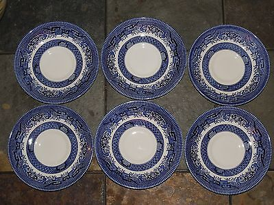 Churchill ~ Staffordshire England ~ Willow Blue China Saucers ~ set of 6