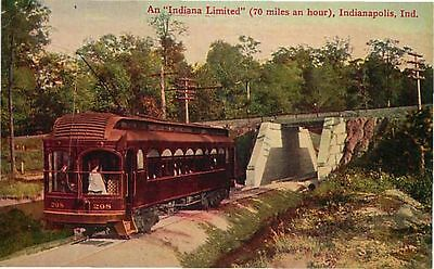 Postcard Indian Limited Interuban Trolley, Indianapolis, Indiana - used 191?