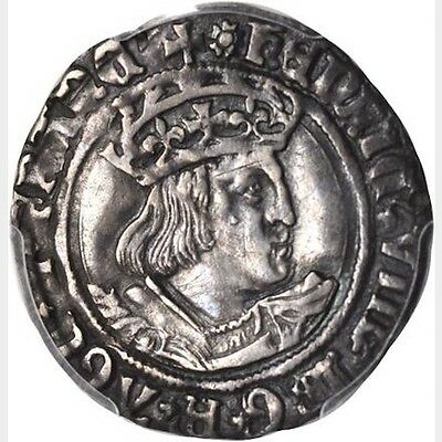 "England Henry Viii 1526-1529  ""groat"" / 4 Pence Silver Coin Pcgs Certified Xf45"