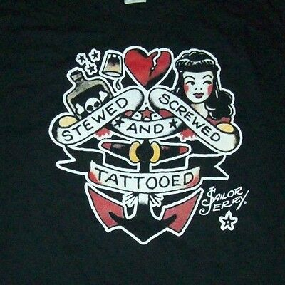 "Sailor Jerry Spiced Rum Black T-Shirt ""Stewed Screwed & Tattooed"" Men's XL - New"