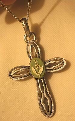 Lovely Open Flute Arm Silvertone Green & Cream Lily of the Valley Cross Necklace