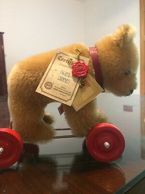 HERMANN Mohair ~Teddy Bear on Wheels Pull Toy~ 1980s NEW no box collectible