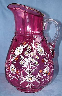Victorian Cranberry Glass Large Pitcher Handpainted Enameled Flowers Bohemian