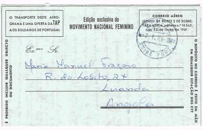 Portuguese Guinea MILITARY AIR LETTER-BISSAU 7/7/68-with message-to ANGOLA
