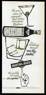 1962 Martini and Rossi dry vermouth bottle rocks & Manhattan vintage print ad