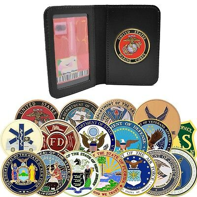 Leather ID Card Wallet License Credit Holder w Medallion Military State Federal