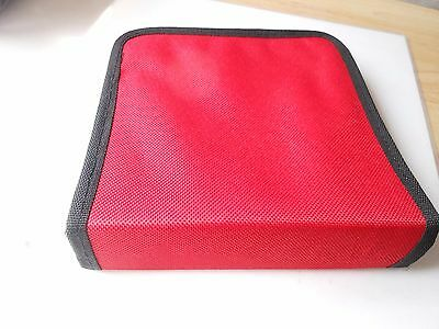 Small Cd Holder Zipper Protection Durable Material Holds 24 Cd's Red /black