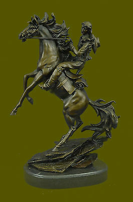 Bronco Buster Original Western Cowboy Horse Rodeo Rider Bronze Marble Statue Art