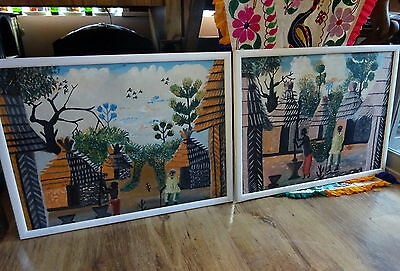 Colourful Pair of Vintage Folk Art African Village Tribal Life Painting on Cloth