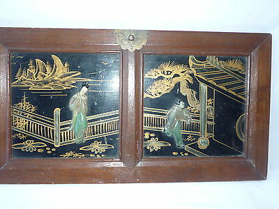 Chinese Wooden Wardrobe Piece Plaque with Inlayed Soapstone & Painted Picture