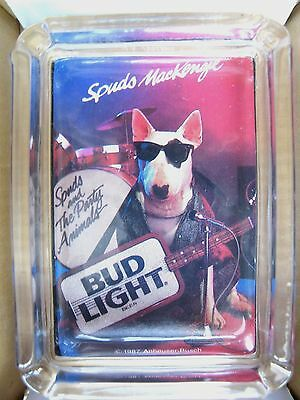 Budweiser Spuds Mackenzie Dog Beer Card & Glass Ashtray ,  Ring or Change Tray