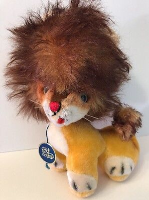 Vintage 60's ANKER Sweet Seated Lion Mohair Plush Stuffed Animal Germany w/ Tag