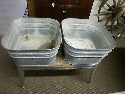Double Rinse Tubs on Stand Galvanized Party Tubs Flower Planters