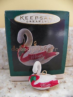 1994 Hallmark Mom Swan Miniature Christmas Ornament