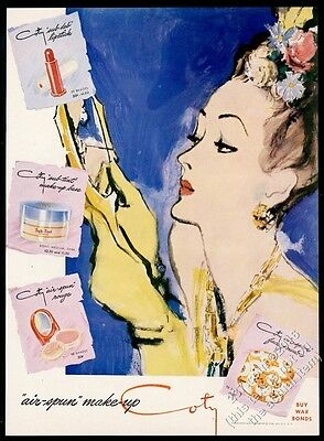 1943 Coty makeup lipstick powder Carl Erickson woman art vintage print ad