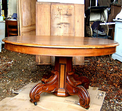 TABLE PIED CENTRAL 4 ALLONGES NOYER MASSIF EPOQUE XIXè STYLE LOUIS PHILIPPE