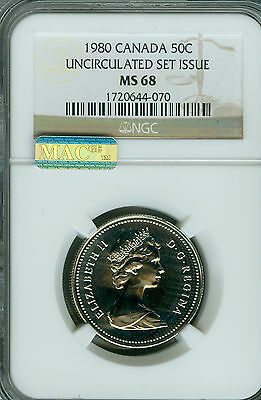 1980 Canada 50 Cents Ngc Mac Ms68 Pq Solo Finest Graded Very Rare Spotless Usi