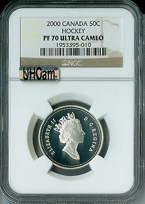2000 CANADA HOCKEY SILVER 50 CENTS NGC MAC PR70 UHCam  FINEST SPOTLESS *
