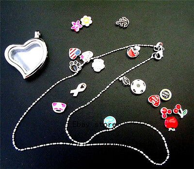 1p Heart Locket Necklace+13pcs Floating Charm Fits pendants Living Memory locket