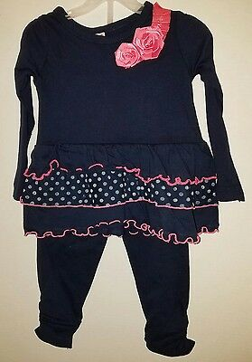 Nwt Fisher-Price 2T Girls 2 Pc Top & Leggings Navy Blue & Pink Ruffles & Dots