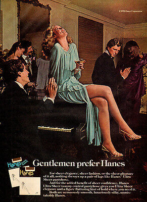 1978 Vintage Hosiery AD, HANES PANTYHOSE sheer stockings girl on piano 082214