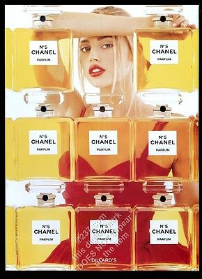 1998 Chanel No.5 perfume woman and 8 bottle color photo vintage print ad