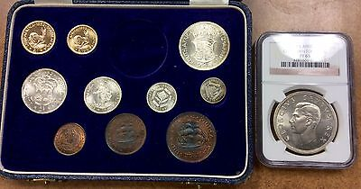 {BJSTAMPS} 1952 SOUTH AFRICA 11 coin PROOF SET GOLD 1-2 RAND, 5SH NGC PF65