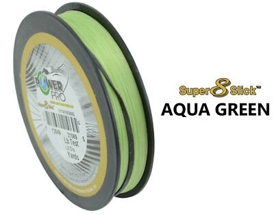 Power Pro Super 8 Slick Braid 300yds in Aqua Green, Hi Vis Yellow