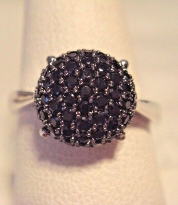 0.55 ct tw Black Spinel Half-Round Pave' Dome Sterling Ring 7 NWT QVC