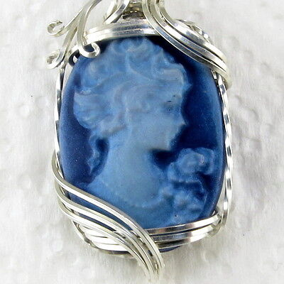 Lady Rose Cameo Pendant .925 Sterling Silver Jewelry Shimmer Blue Resin