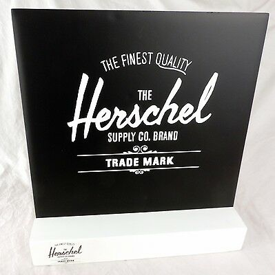 The Herschel Supply Co Brand Backpack Retail Store Display Signs w/ Wood Base
