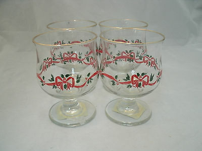 "Libbey LRS40 HOLLY BERRY & RIBBON 4-41/2"" Champagne Sherbet Glasses Christmas"