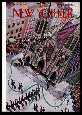 1935 New Yorker magazine framing cover March 16 1935 NYC St Patrick's Day Parade