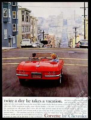 1961 Chevrolet Corvette red car San Francisco color photo vintage print ad