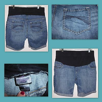 OH BABY by MOTHERHOOD Stretch Blue Denim Jean Shorts Sz L Women's