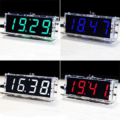 HOT DIY Digital LED Clock Kit 4-digit Light Control Electronic Clock Y/N voice