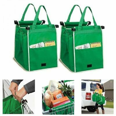 Set of 2 Heavy Duty Reusable Supermarket Shopping Large Trolley Cart Basket Bag