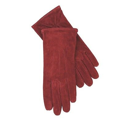 JENDI Ladies Size XL Ruby Red Genuine Suede Leather Lined Winter Gloves