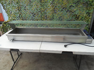 LONG BENCHTOP TABLE TOP Stainless Steel Food Warmer Bain Marie with Glass Cover