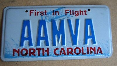 "NO CAROLINA  LICENSE PLATE ""AAMVA""  AMERICAN ASS of MOTOR VEHICLE ADMINISTRATORS"