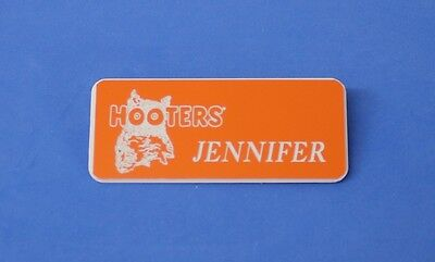 Jennifer - Hooters Restaurant Girl Orange Name Tag W/ White Letters (Pin)