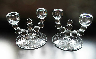 Paden City Alexander 2 Double Candlesticks #444 Cornflower Etch 1940s Elegant