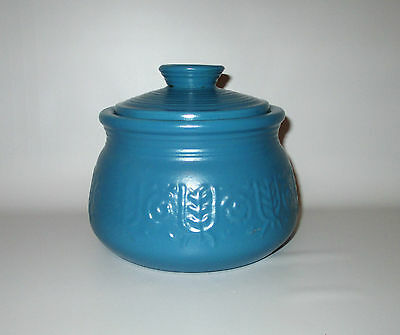 "Crown Devon Pottery Pot Canister Blue Raised Design Lidded 4"" Signed England"