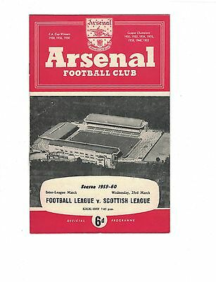 @ARSENAL: FOOTBALL LEAGUE v SCOTTISH LEAGUE 23rd March 1960