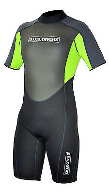 US DIVERS YOUTH SHORTY NEOPRENE WETSUIT for CHILDRENS JUNIOR KIDS in BLACK/GREEN