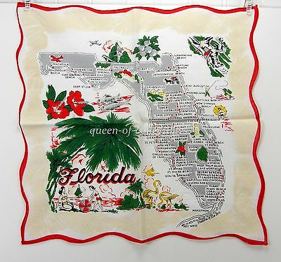 Florida State Map Handkerchief Red, Green, White Red with Cities Vintage Hanky