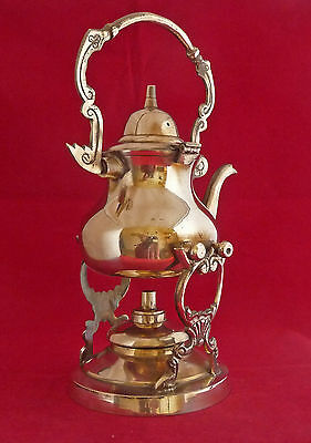 Vintage / Antique Miniature Brass Spirit Kettle Complete With Burner