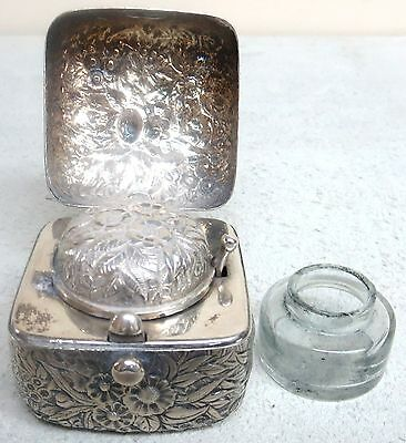 Circa 1886 Theodore B Starr Repousse Sterling Silver Ink Well