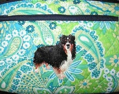 Q cosmetic AUSTRALIAN SHEPHERD TRI Quilted Blue Floral Dble Zipper Cosmetic Bag
