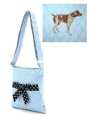 Q purse GERMAN SHORTHAIR Light Blue Quilted Microfiber Fabric Hipster Purse
